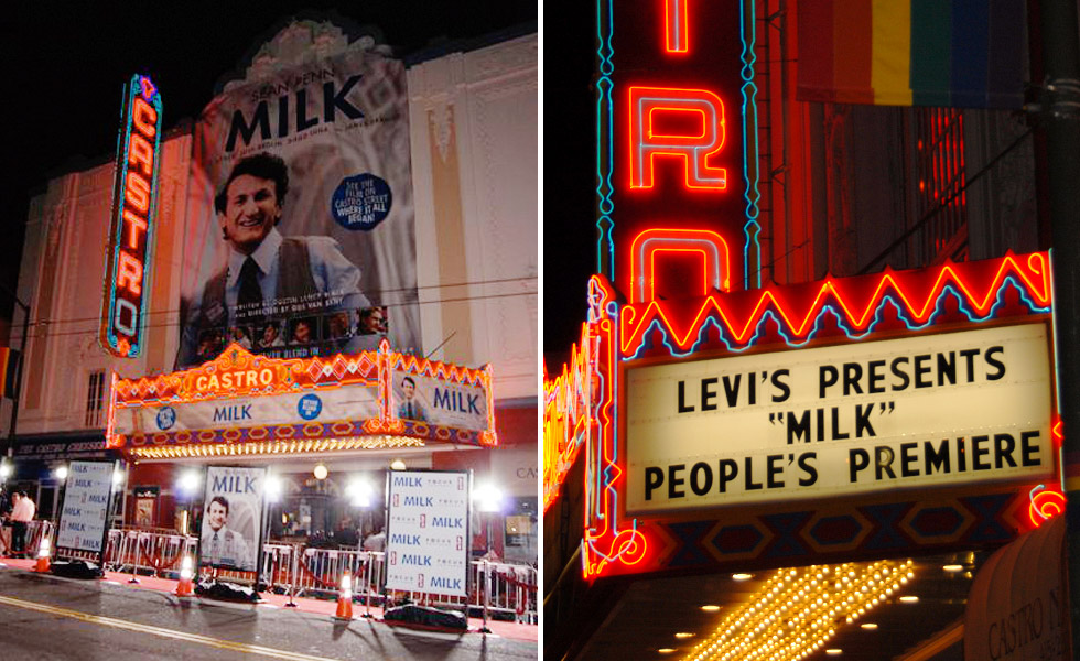 Marquee for <em>Milk</em> Premier Screening at Castro Theatre