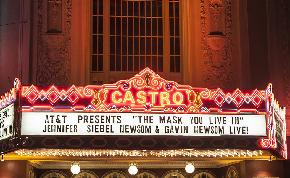 Marquee for Jennifer Siebel Newsom Movie Screening at Castro Theatre