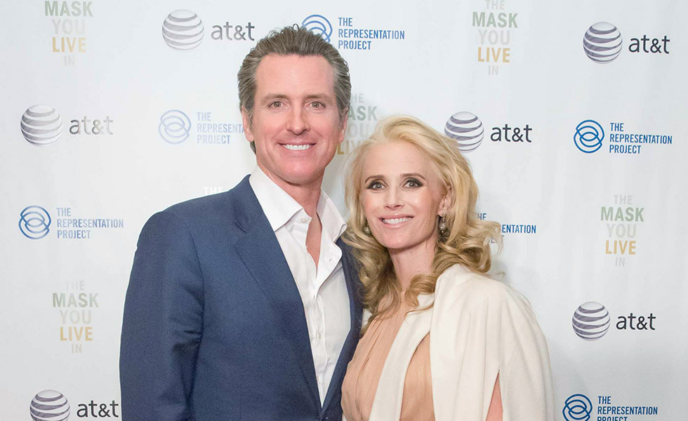 Gavin &amp; Jennifer Newsom at <em>The Mask You Live In</em> Movie Screening