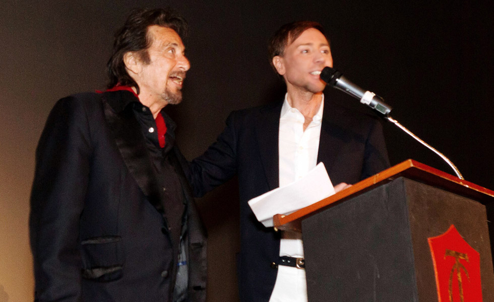 Actor Al Pacino and Host Mark Rhoades at <em>Wilde Salomé</em> Screening