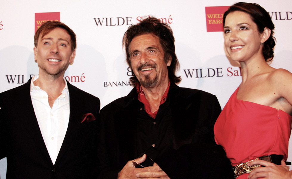Host Mark Rhoades, Actor Al Pacino and Jessica Engholm at <em>Wilde Salomé</em> Screening